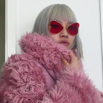 sunglasses silver heart shaped red heart pink heart glasses pink red gold heart sunglasses tumblr tumblr outfit tumblr girl instagram fur coat faux fur pink fur coat fur jacket grey