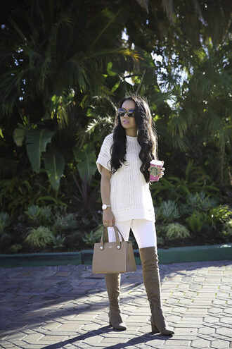 stylish petite blogger sweater jeans shoes bag jewels sunglasses fall outfits handbag boots over the knee boots beige boots white sweater