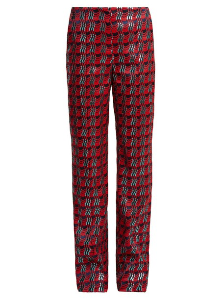 Diane Von Furstenberg jacquard red pants