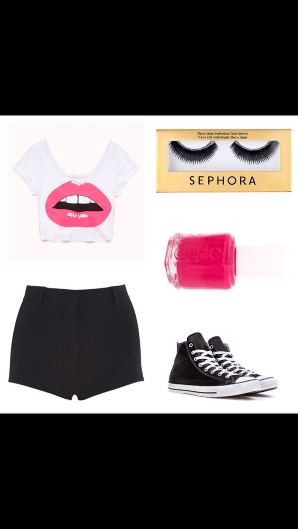 shorts do the hotpants hot pants high waisted black shorts black shorts High waisted shorts graphic tee crop tops graphic crop tops t-shirt natural eye lashes nail polish pink nails converse converse black shoes black converse shoes shirt