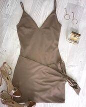 dress,mocha,nude,nude dress,bodycon,bodycon dress,brown,fashion,party dress,sexy