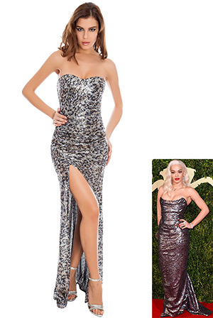 Bandeau High Split Sequin Maxi Dress in the style of Rita Ora