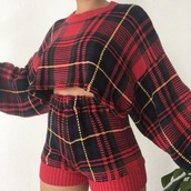 sweater,plaid,shorts,high waisted,cropped hoodie,christmas,holiday season