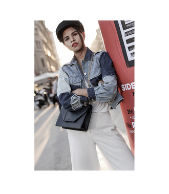 jacket tumblr blue jacket denim denim jacket bag black bag hat fisherman cap pants white pants