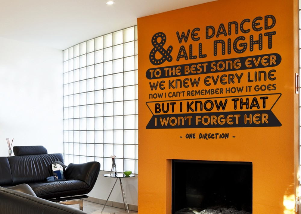 & We Danced All Night Wall Decal - One D Wall Stickers Stickkr.com