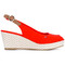 Tommy hilfiger - wedged sandals - women - cotton/rubber - 40, red, cotton/rubber