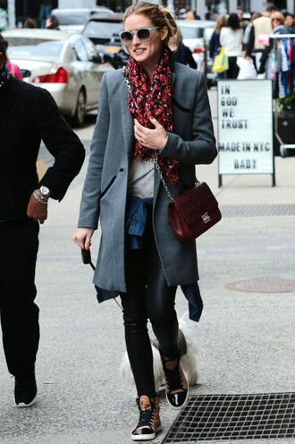 shoes sneakers sunglasses coat olivia palermo