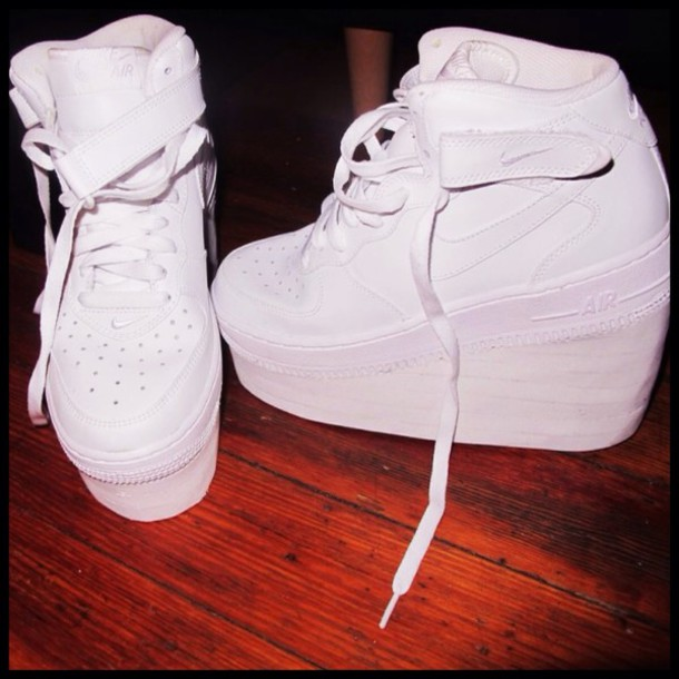 6f1e38394d0 shoes heels white nike air force 1 platform sneakers nike white
