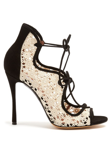 tabitha simmons sandals lace suede white black shoes