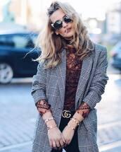 jacket,tumblr,printed blazer,blazer,top,red top,lace top,burgundy,burgundy top,gucci,gucci bag,gucci belt,logo belt,cuff bracelet,bracelets,gold bracelet,gold jewelry,jewels,jewelry,sunglasses,cat eye,coat,check blazer
