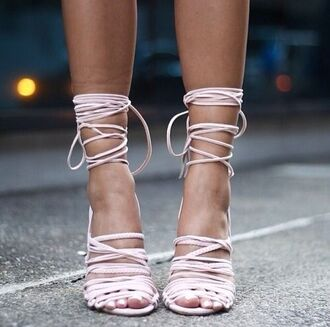 shoes light pink blush pink lace up heels sandals pink