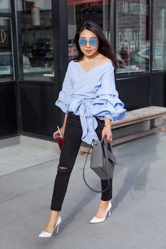 posh classy mom – a lifestyle blog by sheree blogger top jeans shoes bag blue blouse blouse spring outfits grey bag white heels high heel pumps black jeans