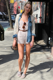 pants,beige,jeans,shoes,jewels,bag,overalls,candice swanepoel,sunglasses,shirt,romper,denim jacket,denim shirt,belt,dress,white romper,cream romper,vintage romper,beige playsuit,cream playsuit,jumpsuit,white jumpsuit,vintage jumpsuit,jacket,silk jacket,button up,button up denim,button-up,button,candace,angel,streetstyle