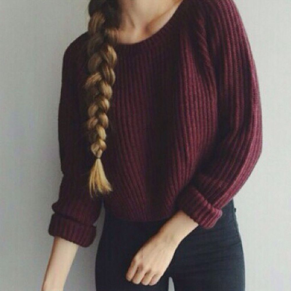 Melville Maroon cropped Boat Neck oversized knit pullover sweater ...