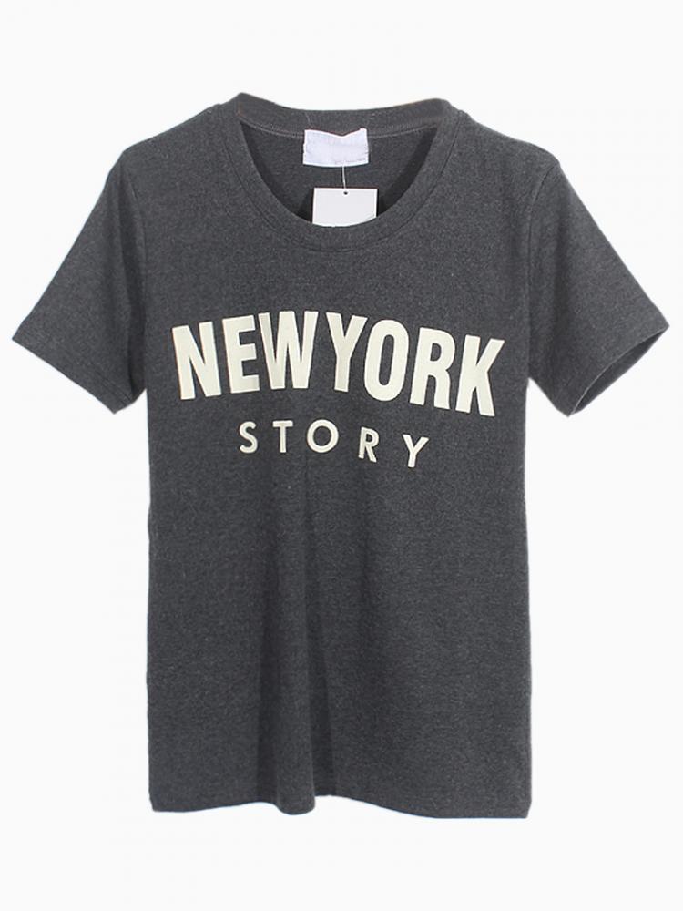 Gray New York Story T-shirt | Choies