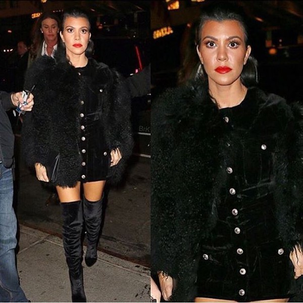 dress storets black dress velvet dress kourtney kardashian celebrity style