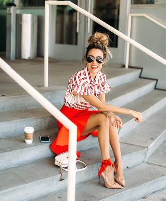 top tumblr red top stripes striped top skirt red skirt mini skirt pumps pointed toe pumps high heel pumps sunglasses