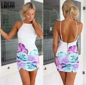 dress,white dress,short dress,summer dress,short dress. it looks layered.,flora,white,summer,floral,halter dress,flowered,blue,pink,low back,lowback dress,straps,floral dress,clubwear,purple,bodycon dress,flowers