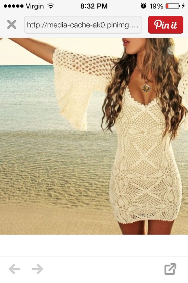 dress crochet summer cover up creme cute dress