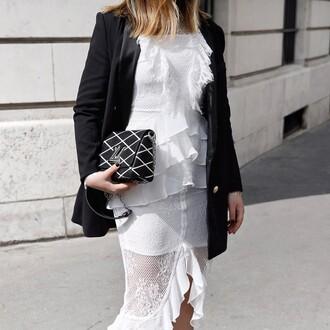 dress tumblr midi dress asymmetrical ruffle ruffle dress white dress see through see through dress blazer black blazer bag black bag designer bag louis vuitton bag