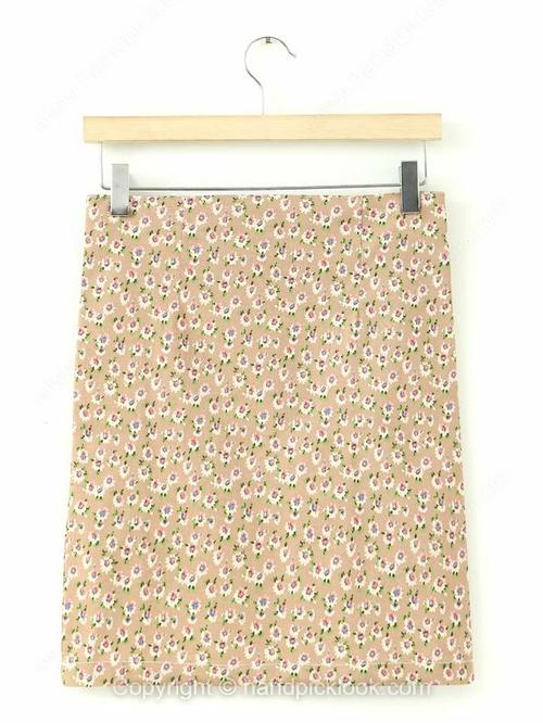 Khaki Floral Print Zip Embellished Skirt - HandpickLook.com