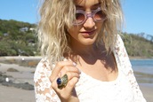jewels,gypsy,jewelry,accessories,lace,sunglasses,summer,beach,hippie,boho chic,sunnies,cast eyewear,lace dress,egyption crown ring,milk the goat