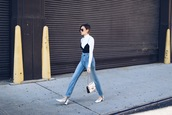 we wore what,blogger,jeans,shoes,bag,high waisted jeans,mid heel pumps,white heels,chain bag,chanel bag,stirrup pants