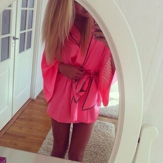 pink sleeping gown sheer nightwear underwear robe morning glory