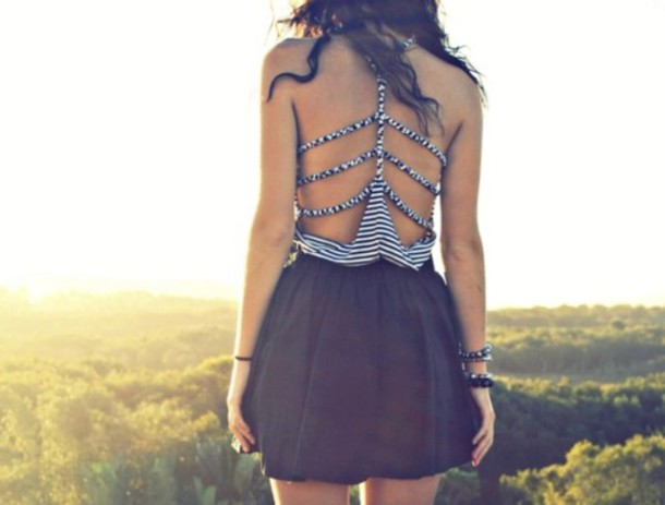 black dress stripes cool back open back dress shirt lovely shirt black and white summer t-shirt backless dress mini dress black and white dress strappy strappy dress blouse tank top