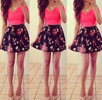 skirt floral pink shirt crop tops