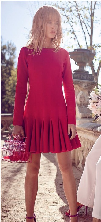 dress red pink flare