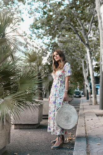 dress tumblr maxi dress long dress floral floral dress sandals wedges wedge sandals bag tote bag round tote shoes