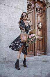 dress,polka dots,polka dots dress,boots,boots with spikes and cheetah print,sunglasses,bag