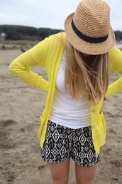 jacket,yellow,shorts,hat,pants,pattern,tribal pattern,black,printed shorts,blackandwhiteshorts,cardigan,fedora,tribal shorts,beach