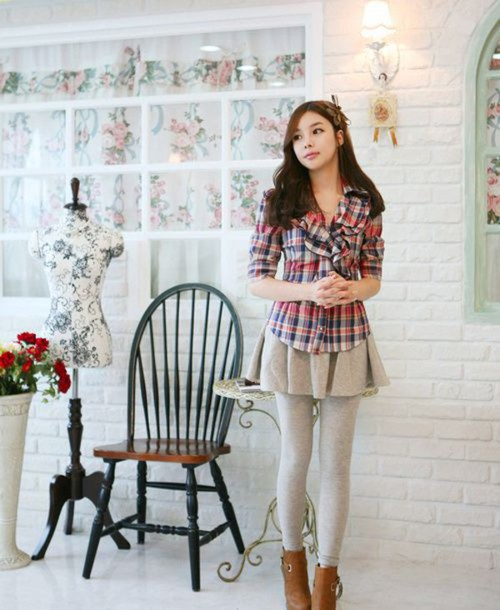 Blouse Top Korean Fashion Plaid Asian Shirt Pink ...