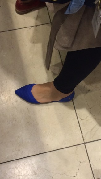 shoes flats electric blue blue royal blue pointyflats