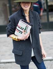 jacket,tumblr,blazer,grey blazer,wool,bag,embellished bag,embellished,white bag,bracelets,necklace