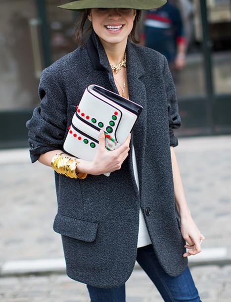 jacket tumblr blazer grey blazer wool bag embellished bag embellished white bag bracelets necklace