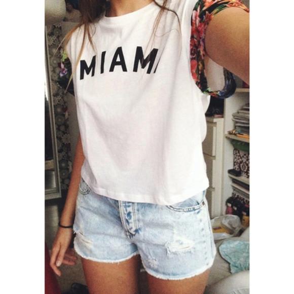 miami white shirt floral print shirt