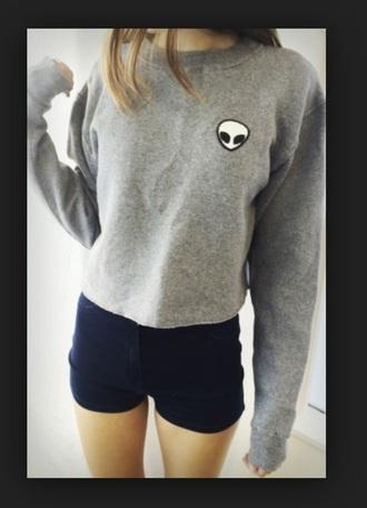shirt t-shirt shorts sweater alien cropped t shirt grey idsbook