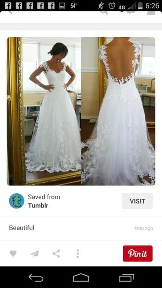 dress white chiffon lace open back sweetheart neckline