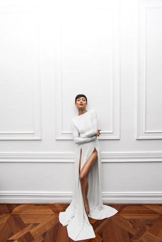 dress micah gianneli white slit dress white dress