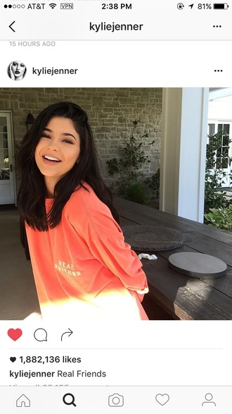 shirt instagram kylie jenner real friends coral shirt top orange top sweatshirt natural makeup look celebrity sweater yeezy pink sweater jacket orange oversized sweater
