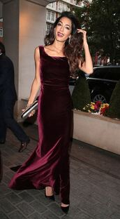 dress,velvet,velvet dress,amal clooney,gown,maxi dress,burgundy,burgundy dress,celebrity