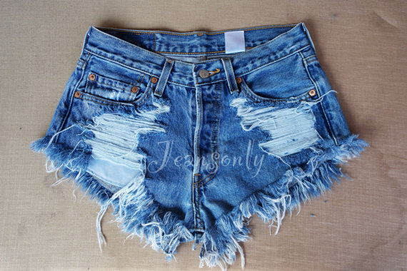 waisted denim shorts Levis ripped distressed di Jeansonly
