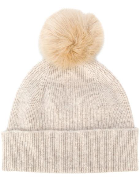 PS By Paul Smith women beanie pom pom beanie nude wool hat