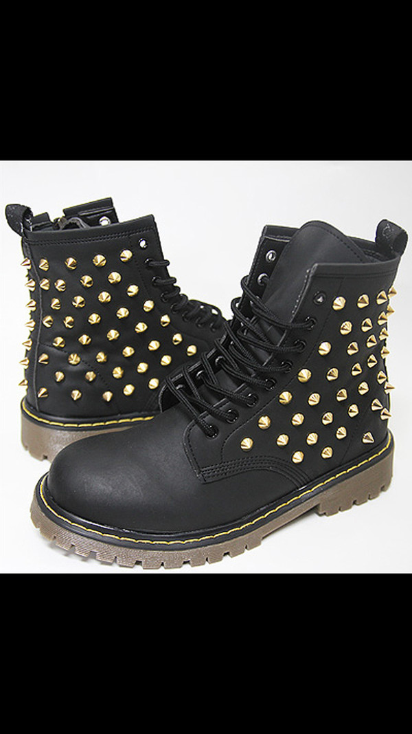 shoes black combat boots gold studs