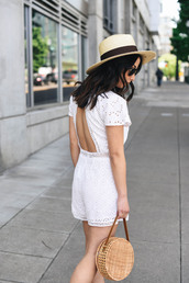 romper,hat,tumblr,white romper,lace romper,white lace romper,bag,round bag,sun hat,open back,backless
