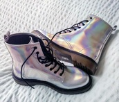 shoes,boots,timberlands,heel boots,holographic shoes,fashion,hipster,indie rock,grunge,rock,unique shoes,fall outfits,winter boots