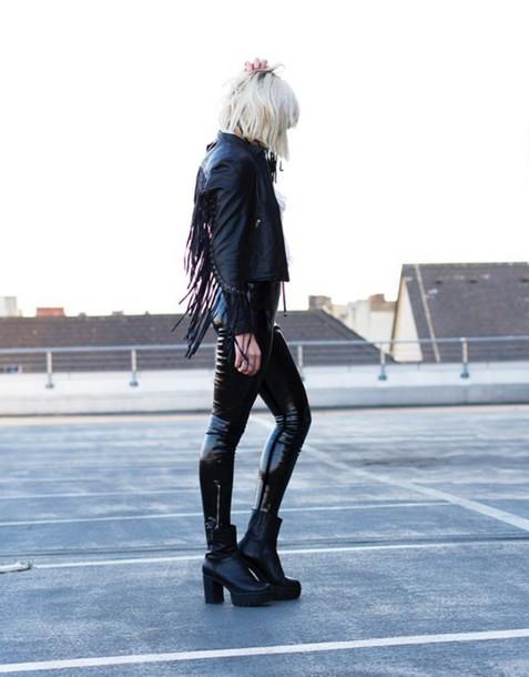 mikuta now blogger all black everything fringed jacket faux leather leather jacket chunky boots jacket pants shirt shoes